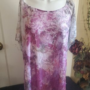 Dress Barn Woman's XL Pink Floral Top With Lining